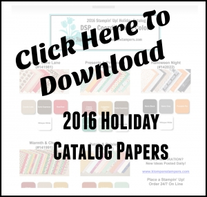 Coordinating Colors Chart for all the DSP in the 2016 Stampin' Up! Holiday Catalog.