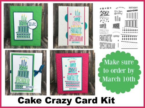 Stampin' Up! Cake Crazy card kit available from Jackie Bolhuis. Get your kit free with an order, or purchase the kit or tutorial.