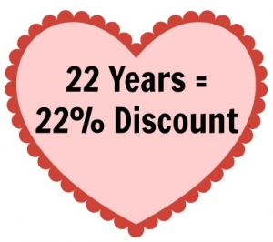 Celebrate my 22 years as a demonstrator with 22% off an order placed between March 13 and 17, 2017