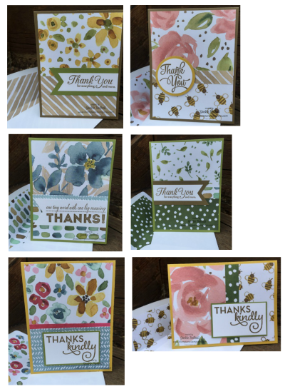 Quick and easy cards using the English Garden Designer Series Paper. All you need is a SIP--stamps, ink and paper. by Jackie Bolhuis