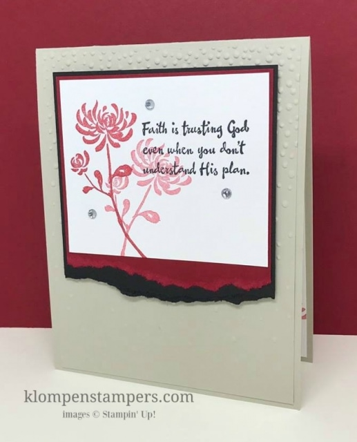 Easy technique this week--torn edges. Adds dimension and interest to your cards. Artistically Asian is a great stamp set for quick and easy cards. By Jackie Bolhuis