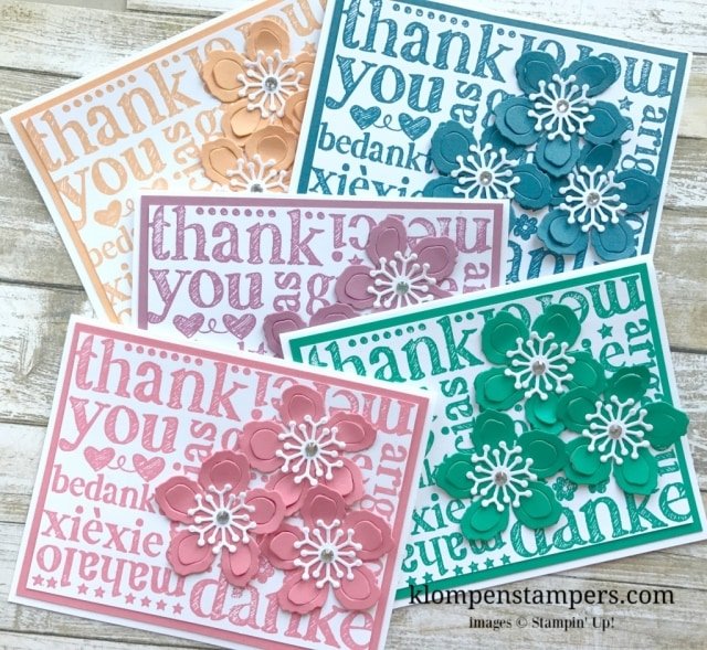 Stampin Up stamp called A World of Thanks is a big background stamp that is perfect for quick and easy thank you cards. I added flowers made with the Botanicals Builder Framelits. You can easily use any color and make this same card.