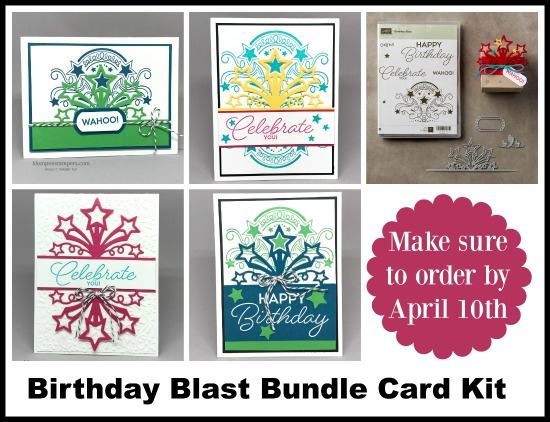 Card Kit to make 8 cards (2 each of 4 designs) using Stampin' Up! Birthday Blast bundle. Offered by Jackie Bolhuis. Free with a $50 order by April 10, 2017