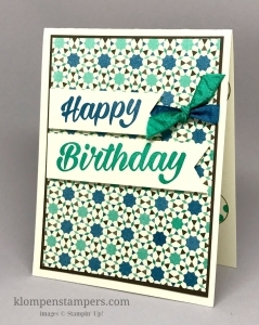 Masculine birthday card using Moroccan Designer Series Paper (DSP) and Birthday Bright Stamp Set. By Jackie Bolhuis
