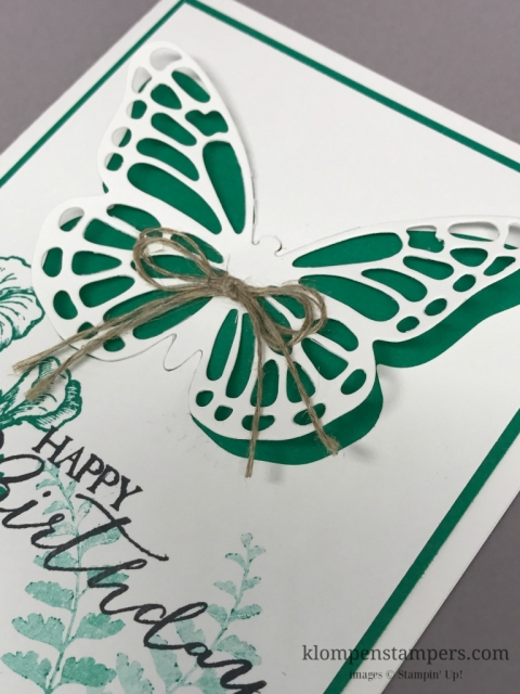 Easy birthday card using the Butterfly Basics stamp set and Butterflies thinlits. Just change the color for a different look. Cards by Jackie Bolhuis