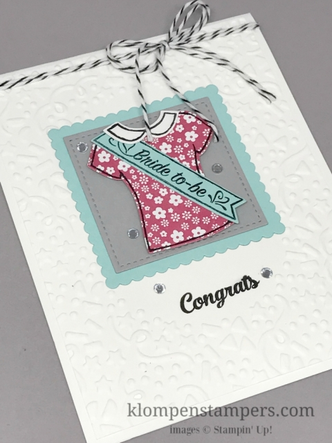 Bride to-be card using Custom Tee bundle by Stampin' Up! by Jackie Bolhuis