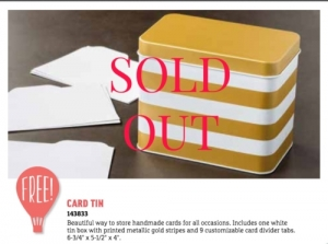 The Sale-a-bration Card Tin is sold out.