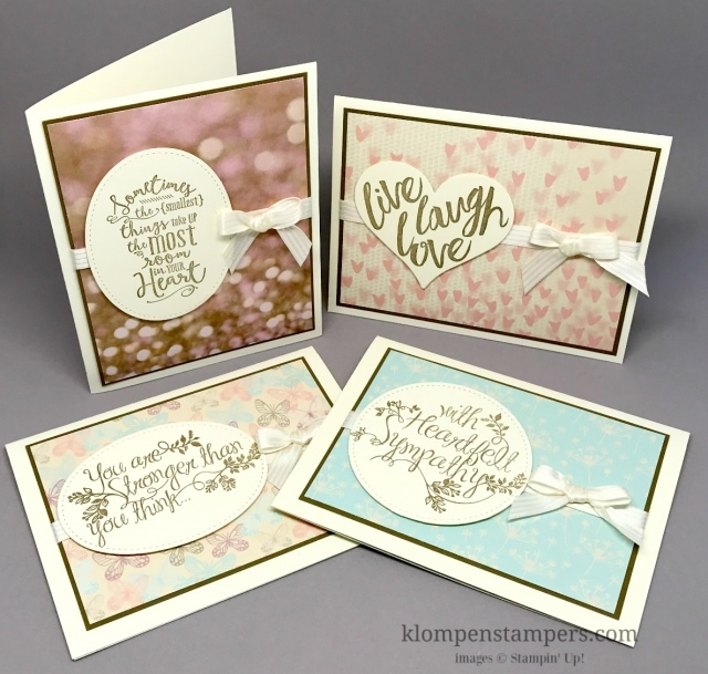 Let the DSP do the work. Quick and easy cards made featuring the Falling in Love Designer Series Paper. by Jackie Bolhuis