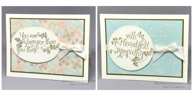Sympathy cards made using the Falling in Love DSP and Heartfelt Sympathy stamp set.