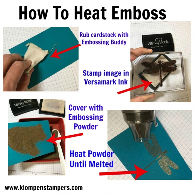 Step by step instructions for heat embossing using Embossing Powder and Heat Tool. Jackie Bolhuis