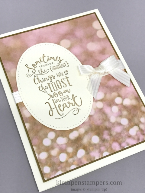 Easy card made using Falling in Love Designer Series Paper and the Layering Love stamp set. By Jackie Bolhuis