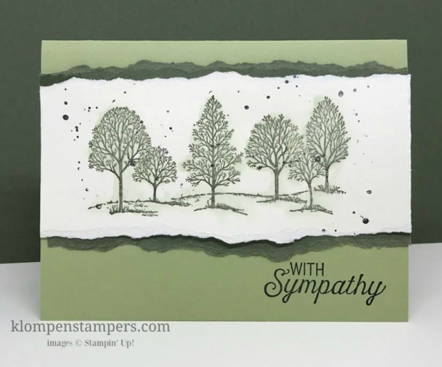 Easy technique this week--torn edges. Adds dimension and interest to your cards. Lovely as a Tree is a great stamp set for quick and easy cards. By Jackie Bolhuis