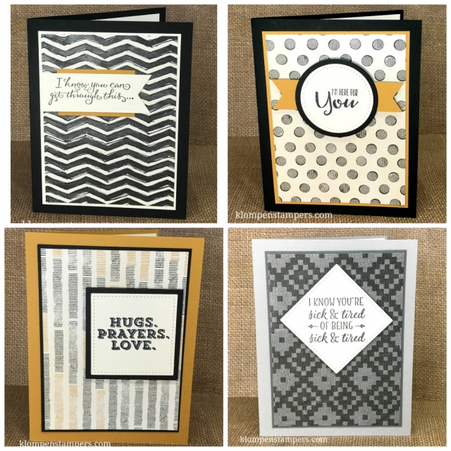 Masculine cards using Stampin Up Sending Thoughts stamp set and Urban Underground paper. All are quick and easy using just one stamp set and one stamp pad. Cards by Jackie Bolhuis, Klompen Stampers