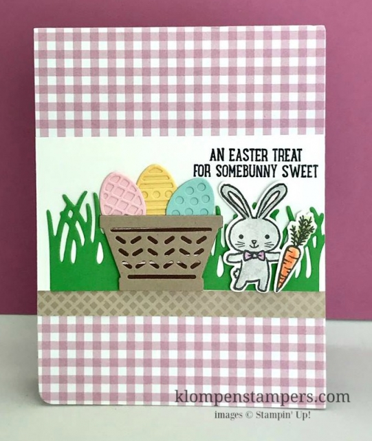 Cute Easter card using Stampin' Up! Basket Bunch bundle. Quick and easy card that anyone will enjoy.