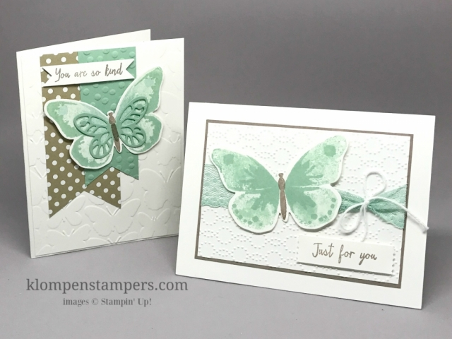 Quick and easy cards made using Stampin' Up! Watercolor Wings. by Jackie Bolhuis
