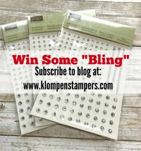 "I love adding a little ""bling"" to my cards and I want to share that love with you. I will be picking 3 people who have subscribed to my blog to send a package of Rhinestones too. Subscribe by Monday, March 13th to get into the drawing."