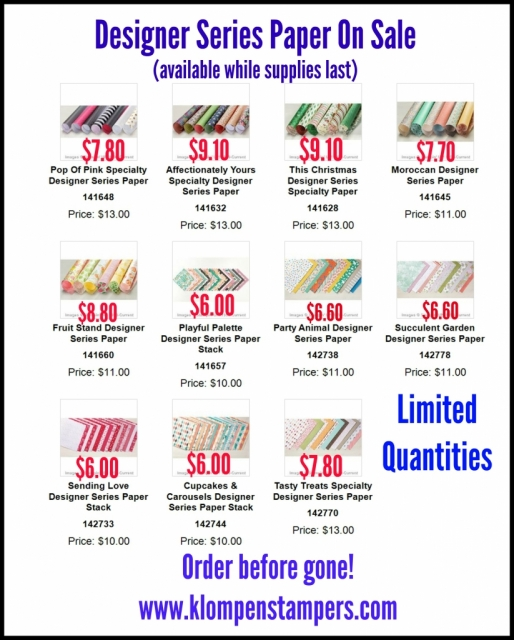 Stampin' Up! Designer Series Papers on sale--while quantities last.