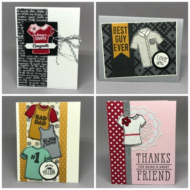 Lots of fun ideas using Custom Tee bundle from Stampin' Up! By Jackie Bolhuis