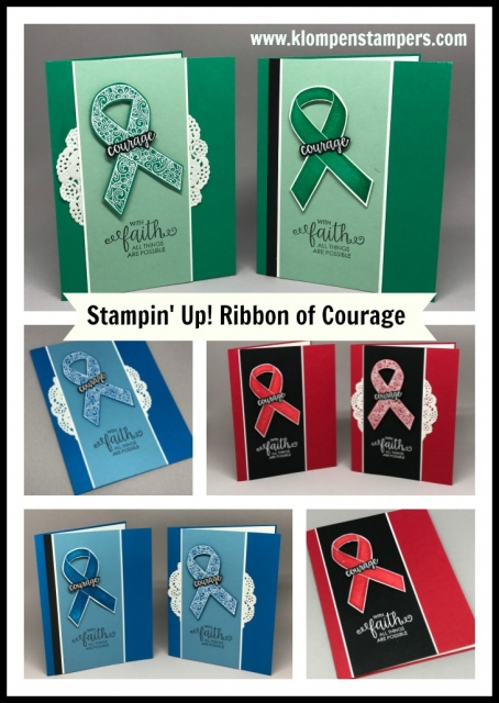Ribbon of Courage Stampin' Up! set from the new 2017-2018 Annual Catalog. Projects demonstrated at OnStage by Jackie Bolhuis