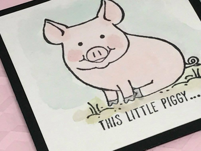 This Little Piggy stamp set is adorable and so fun. Details on website! LOVE love this stamp set. Card by Jackie Bolhuis of Klompen Stampers.