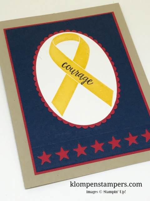 Ribbon of Courage stamp set from Stampin' Up! is perfect for people in the military. All card details on website.