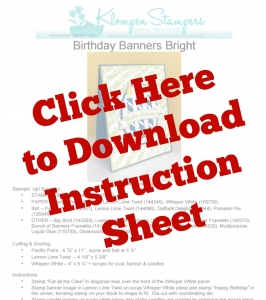 Instruction sheet to download for Birthday Banners card.