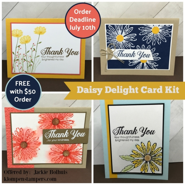 FREE Card Kit with a purchase. Make these 4 fun cards using the Daisy Delight stamp set. All details on klompenstampers.com