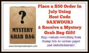Free Grab Bag of stamping supplies with an order from Jackie Bolhuis in July.