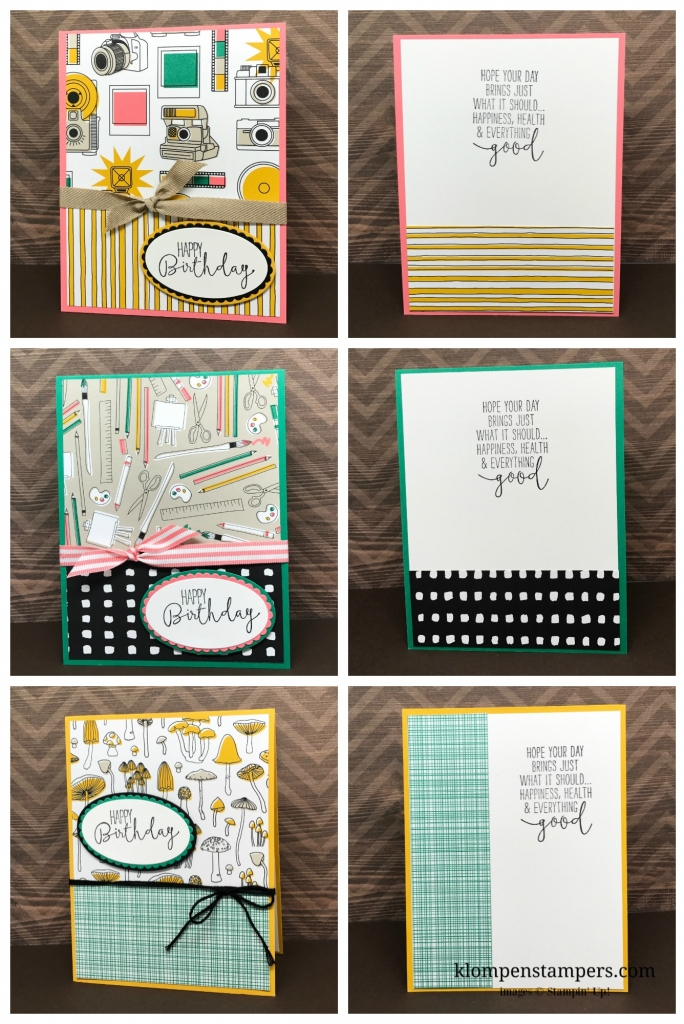 Several different ideas using the Pick a Pattern DSP from Stampin' Up! Cutting instructions posted on blog. www.klompenstampers.com