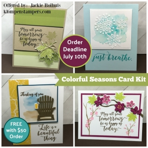 FREE Card Kit with a purchase. Make these 4 fun cards using the Colorful Seasons Bundle. All details on klompenstampers.com