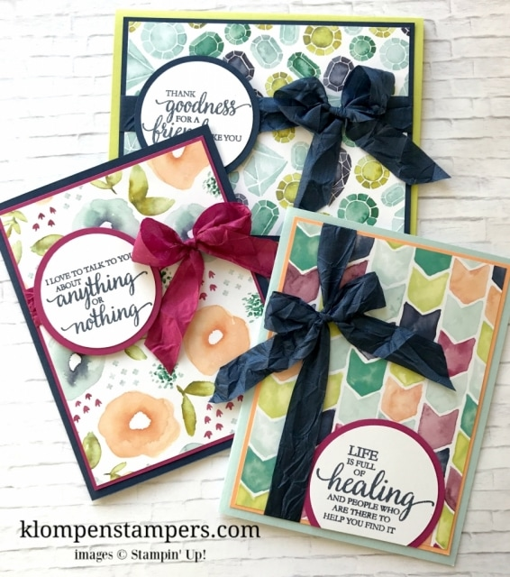 Several different ideas using the Naturally Eclectic DSP from Stampin' Up! Cutting instructions posted on blog. www.klompenstampers.com