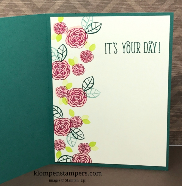 Quick & easy birthday card using Happy Birthday Gorgeous by Stampin' Up! All details and instructions posted. klompenstampers.com
