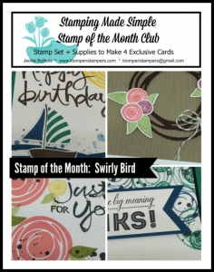 Swirly Bird online stamping class. Includes PDF Tutorial and video.