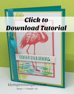 Free step-by-step tutorial for Stampin' Up! Fabulous Flamingo card.