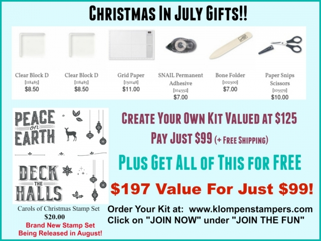 Join Stampin' Up! in July and receive all of these goodies for FREE. Pay just $99 for $197 in products, plus free shipping. Contact me for more details.