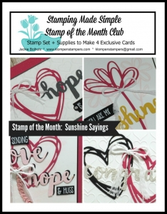 Sunshine Sayings online stamping class. Includes PDF Tutorial and video.