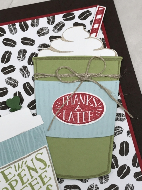 Card made with Coffee Cafe bundle by Stampin' Up! All details and directions posted on klompenstampers.com