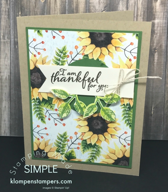 Easy card using Painted Autumn DSP & Painted Harvest Stamp Set. Details posted on website klompenstampers.com