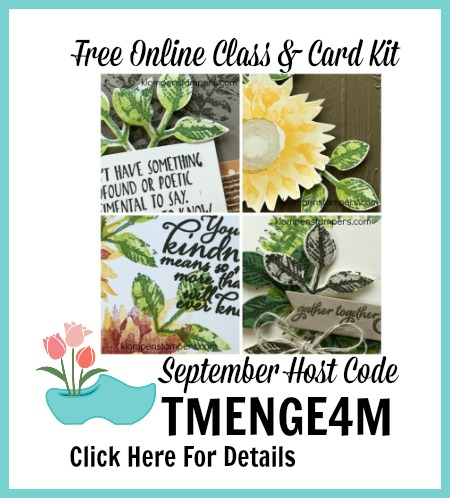 Receive a free online class and card kit with a $50 purchase by September 10th from Klompenstampers.com
