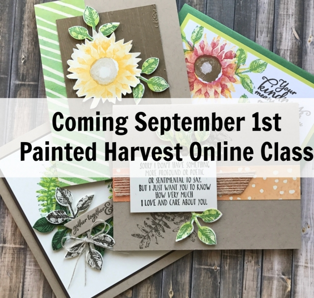 Online class and card kit using Stampin' Up! Painted Harvest Bundle. Free with purchase, or purchase just the class.