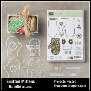 Smitten with the Mitten card made using Stampin' Up! Smitten Mitten stamp set and Many Mittens Framelits. All details & video posted on blog.