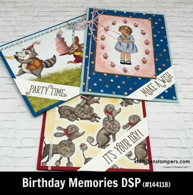 Birthday Memories Designer Series Paper (DSP) projects. Instructions posted. DSP helps you make quick and easy cards.