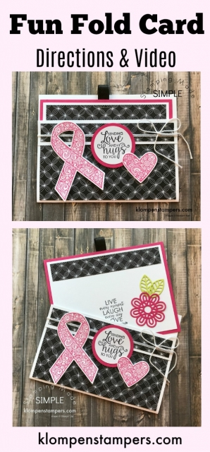 Easy fun fold card using Ribbon of Courage stamp set from Stampin' Up!. Instructions & video posted.