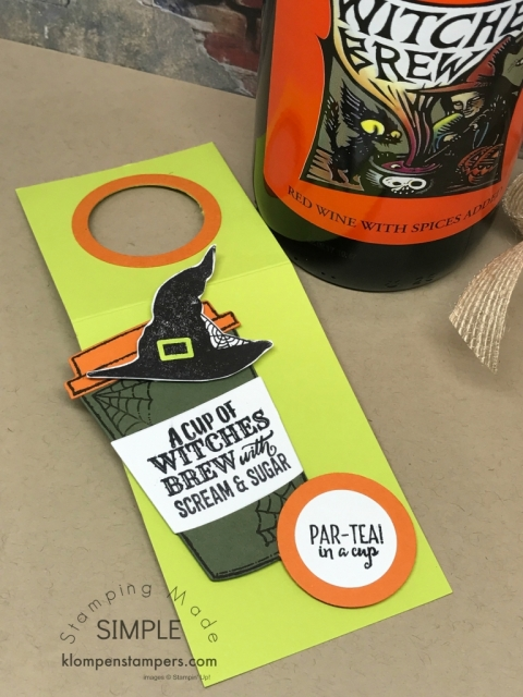 Wine bottle gift tag made using Merry Cafe stamp set. Easy directions posted.