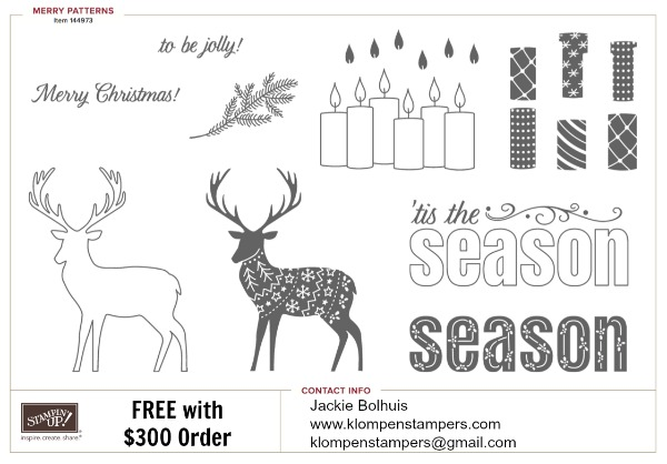 Merry Patterns stamp set from Stampin' Up! is FREE in September with an order. Check out all the details at klompenstampers.com