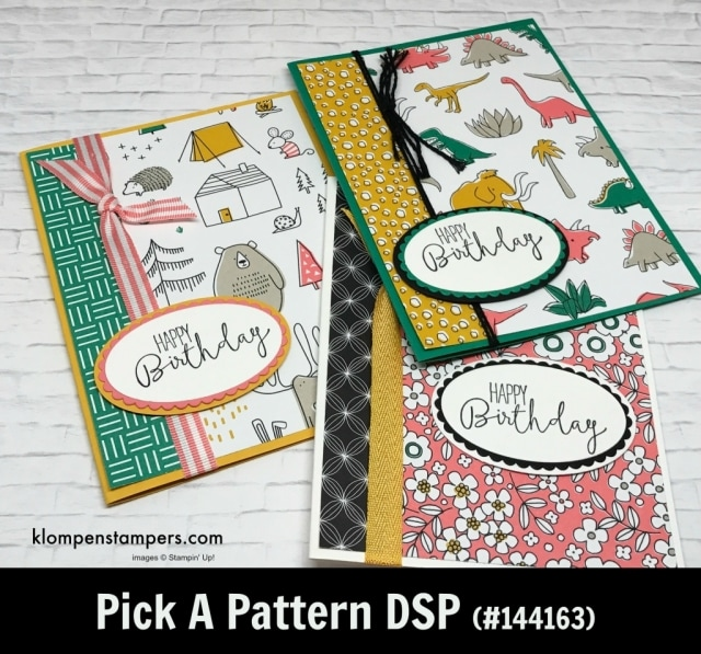 Pick a Pattern Designer Series Paper (DSP) projects. Instructions posted. DSP helps you make quick and easy cards.