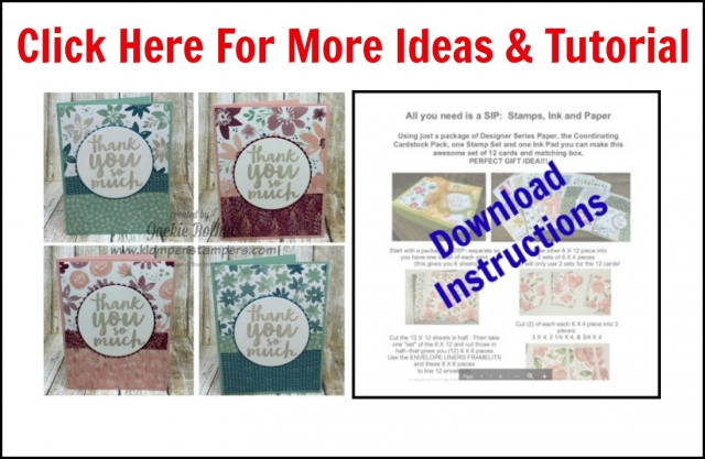 Instructions for these quick & easy cards using Stampin' Up! Designer Series Paper and a greeting.