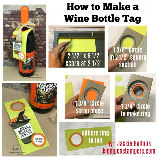 Directions for wine bottle gift tag.
