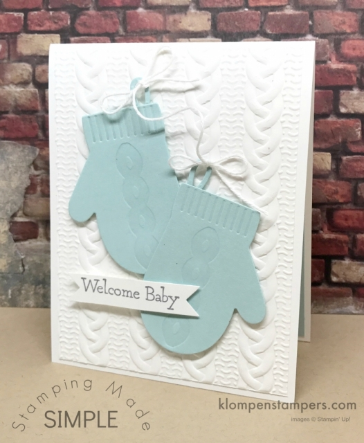 Baby Card using Stampin' Up! Smitten Mittens stamp set bundle. Quick and easy. Details on blog.