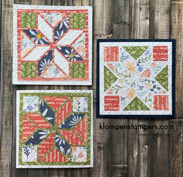 Tips & Video for using the Quilt Builder Framelits. You can get so many different looks when combined with Christmas Quilt stamp set by Stampin' Up!